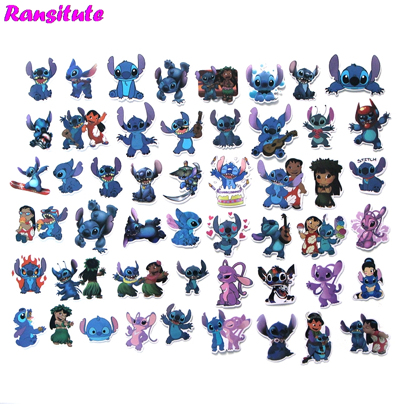 R190 50pcs/set Cute Stitch PVC Waterproof Fun Sticker Toy Luggage Sticker Motorcycle And Luggage Notebook Sticker