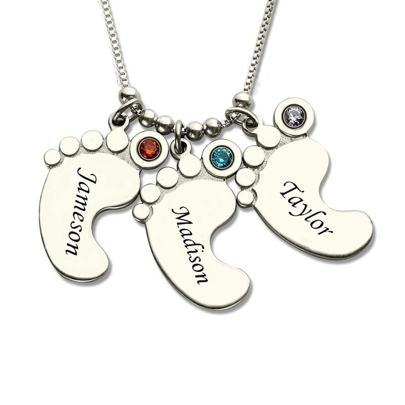 AILIN mamans bijoux argent bébé pieds charme collier avec pierre de naissance enfants nom collier célébrer mamans enfants nom bijoux