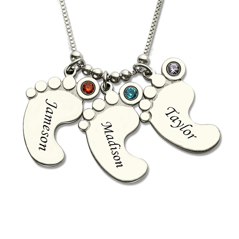 Moms Jewelry Silver Baby Feet Charm Necklace with