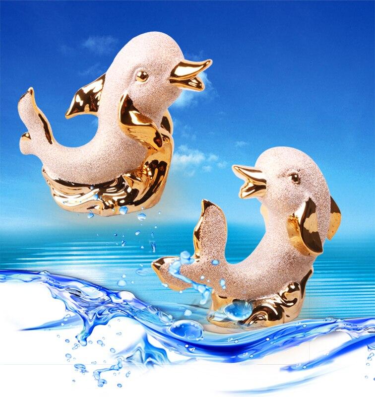 Распродажа! Уникальный дизайн Элегантные украшения дома Керамика золотой Дельфин животных Миниатюрный Мини Дельфин статуя специальные др... ...