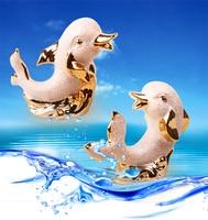 On Sale Unique Designs Elegant Home Decoration Ceramic Golden Dophin Animal Miniature Mini Dophin Statue Special
