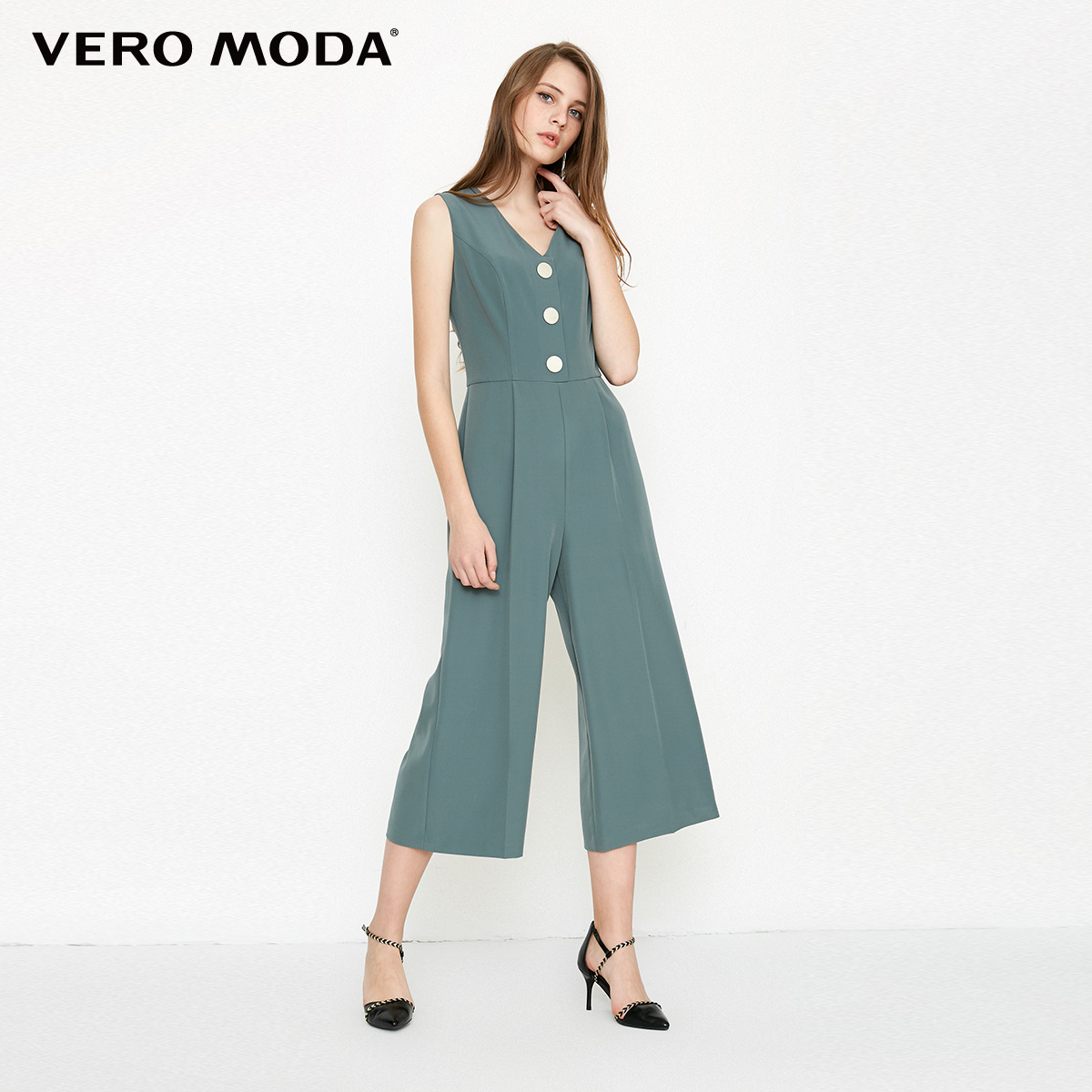 Vero Moda spring fashionable V-collar loose-leg cropped Jumpsuits for women |318144507 3