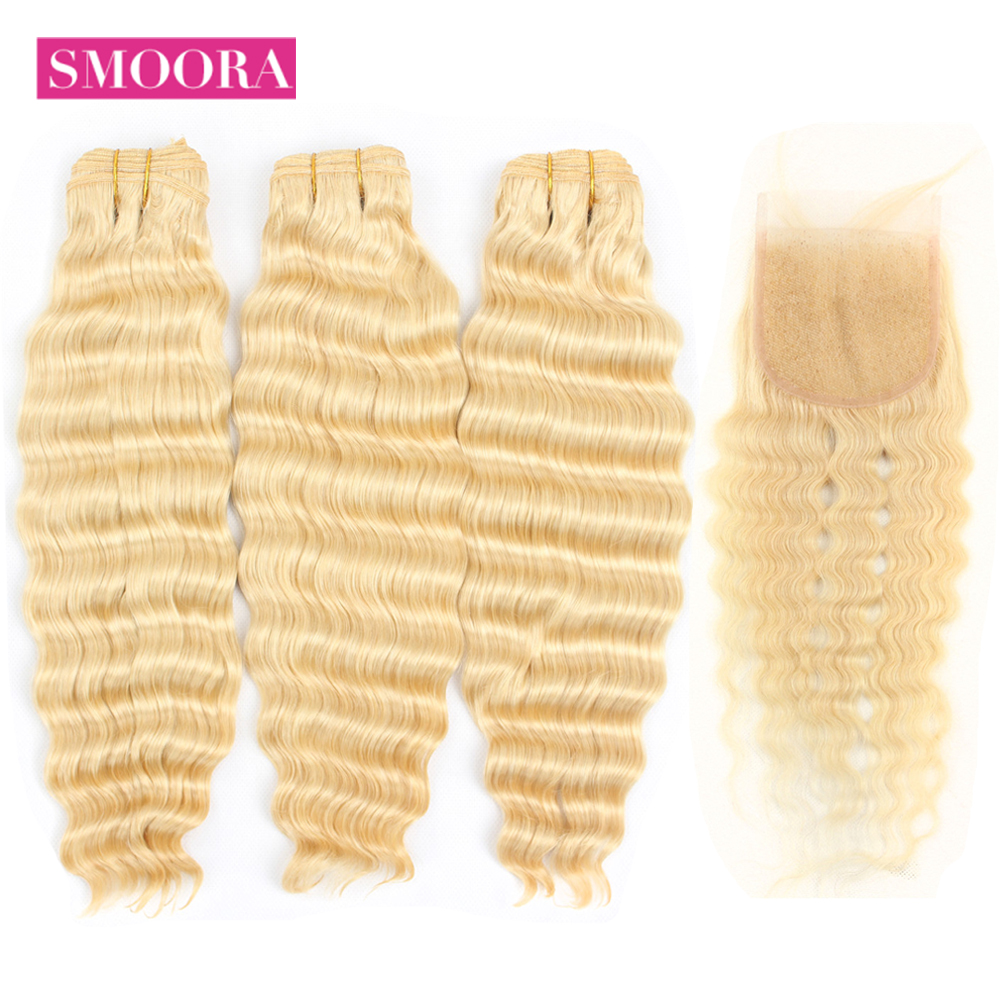 Smoora Blonde Bundles With Closure Brazilian Deep Wave Bundle With Closure Non Remy Blonde 613 Human Hair Bundles With Closure