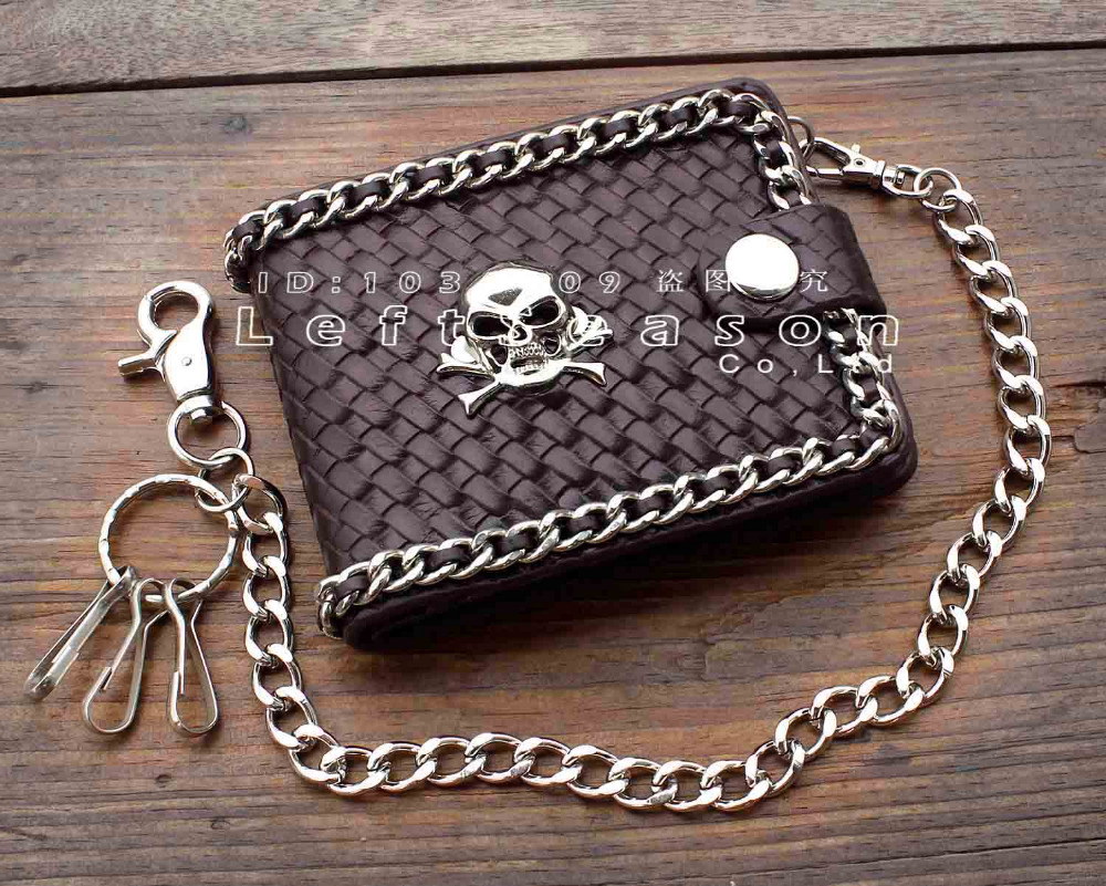 Heavy Metal Gothic Skull Biker Leather Chain Wallet Mens Short Card