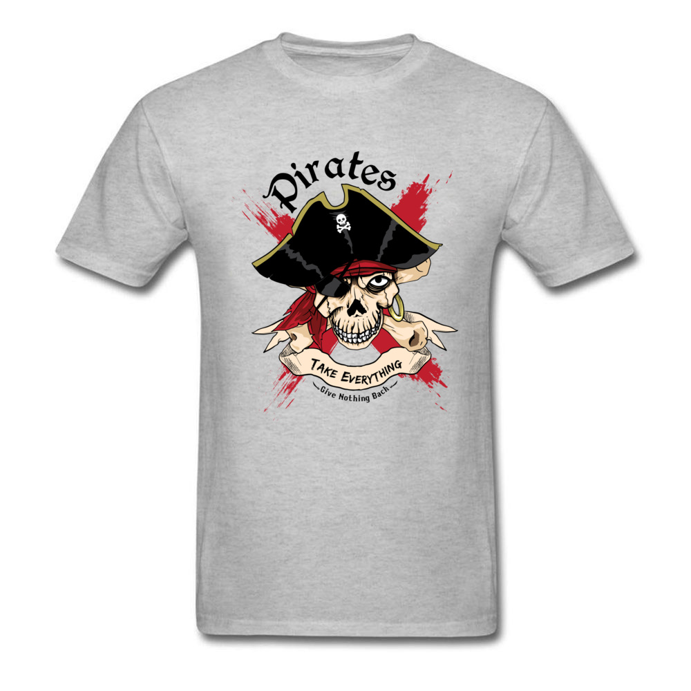 Family PIRATE Normal Short Sleeve T Shirt Lovers Day O-Neck Cotton Fabric Tops T Shirt for Boys T Shirt Casual PIRATE grey
