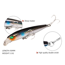YTQHXY Shad Minnow Sinking Fishing Lure Artificial Bait 11g 90mm 3D Eyes Wobblers Bass Lure peche Fishing Tackle YE-125
