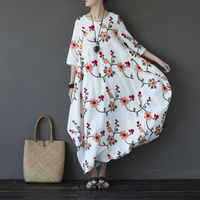 Cotton Flower Embroidery Women Long Dress Vintage Casual Floral Summer Dress Chinese style Longue Robe Femme Vestidos A190