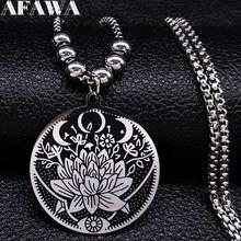 Wicca – pendentif Lotus en acier inoxydable pour hommes, Long collier, noir, argent, N18517