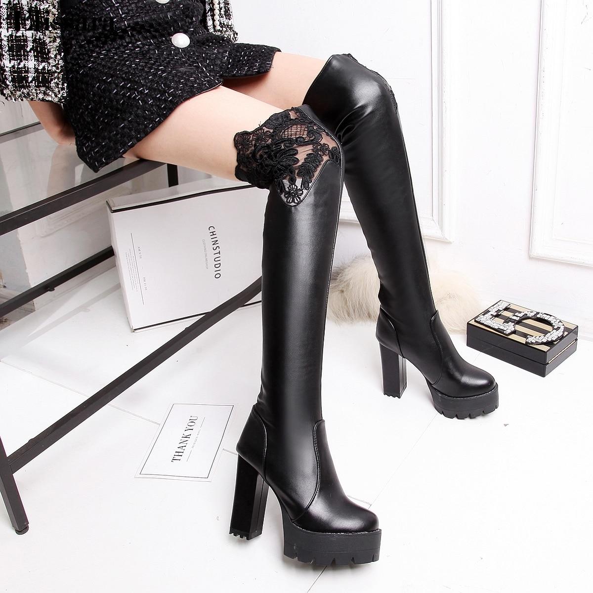 Plate Haute Chaussures Sur Genou 34 Rond Talons Femme Taille 43 Noir Femmes Cuisse Bout Bottes Noir De Mode forme blanc Elissara 7Aq4pWwxB