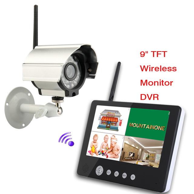 9 Inch LCD Display 4CH 4 Split Wireless Baby Monitor IR Night Vision Camera