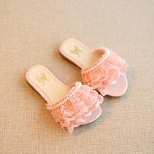 Новинка года; летние детские сандалии для девочек; обувь для девочек с кружевом и жемчужинами; милые детские пляжные шлепанцы принцессы с бусинами