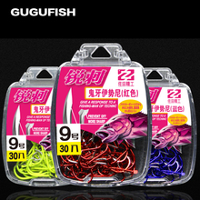 GUGUFISH 30pcs/box Multicolor fishhook high Carbon Steel Fishing Hook  Durable Pesca Jig Head Fishing Hooks with Hole