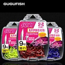 GUGUFISH 30pcs/box Multicolor fishhook high Carbon Steel Fishing Hook  Durable Pesca Jig Head Fishing Hooks with Hole