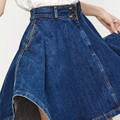 2016 Fashion women denim skirt lady high waist jeans skirts big hem casual women denim pleated skirt free shipping