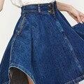2016 moda feminina saia jeans senhora calça jeans de cintura alta saias big hem casual mulheres denim saia plissada frete grátis