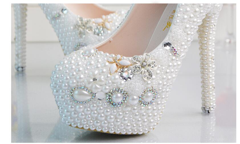 Sexy Mariage Partie Pompes 14cm High Femmes Heel Haute Plein Progressivement De forme Feminino Perles Sapato Chaussures Plate wTqAxBIS