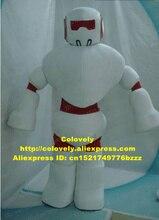 멋진 흰색 빨간색 로봇 Automaton 마스코트 의상 파티 정장 빨간색 Straitjacket 흰색 큰 Corselet 지방 신발 No.6122 무료 Sh