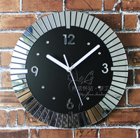 040620 wall clock safe modern design digital vintagekitchen mirror mosaic 3D
