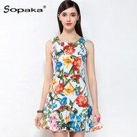 2018 Spring White Floral Print Sleeveless Short Tank Dress Sweet Empire A Line High Quality Mini