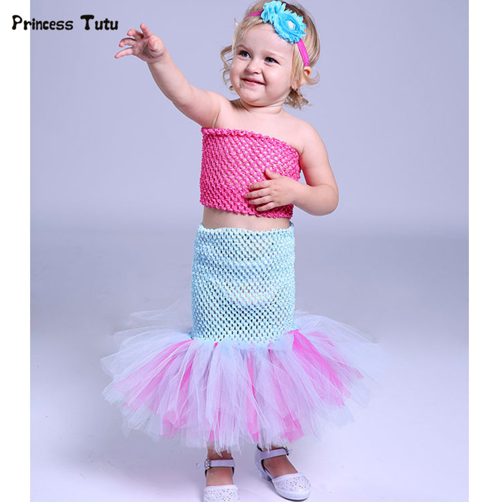 Girls Cosplay Mermaid Ariel Tutu Dress Lovely Baby Girls Halloween Costume Kids Party Birthday Photo Performance Tulle Dresses