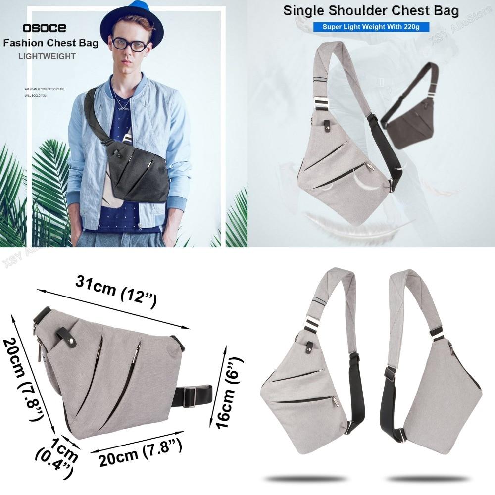 2663df664fa7 US $16.99  OSOCE Ultra Slim Shoulder Chest Bag Men's Crossbody Sling  Satchel Messenger for 7.9