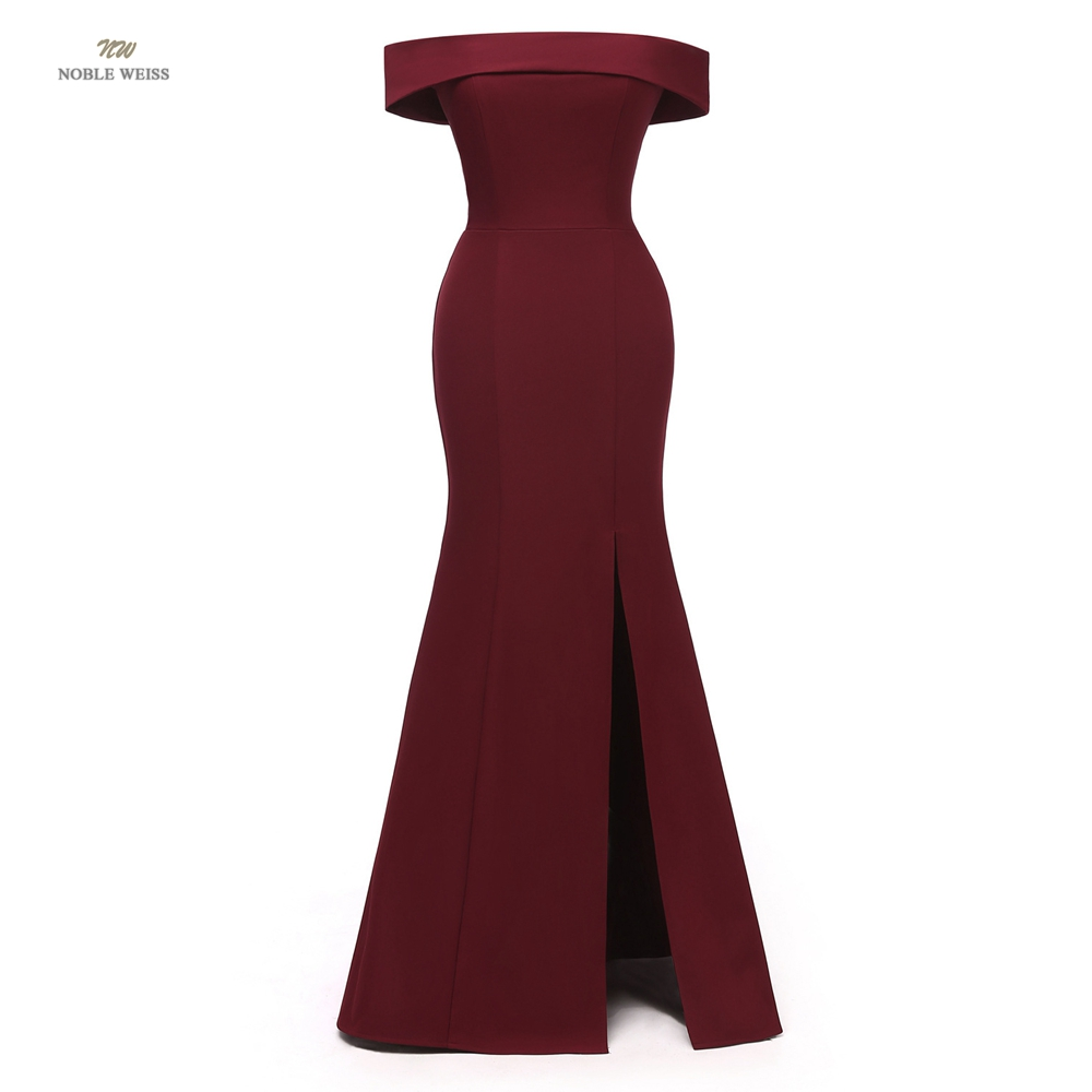 dark red   evening     dress   fashion boat neck long satin mermaid formal   dress   prom party   dresses