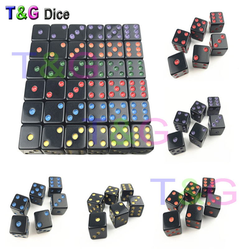 T&G New Dices Cube Colorful Dots Of 6pcs/Set 16mm D6 Special Six Sided Bar Games Gambling Dice Dado Set For Gift
