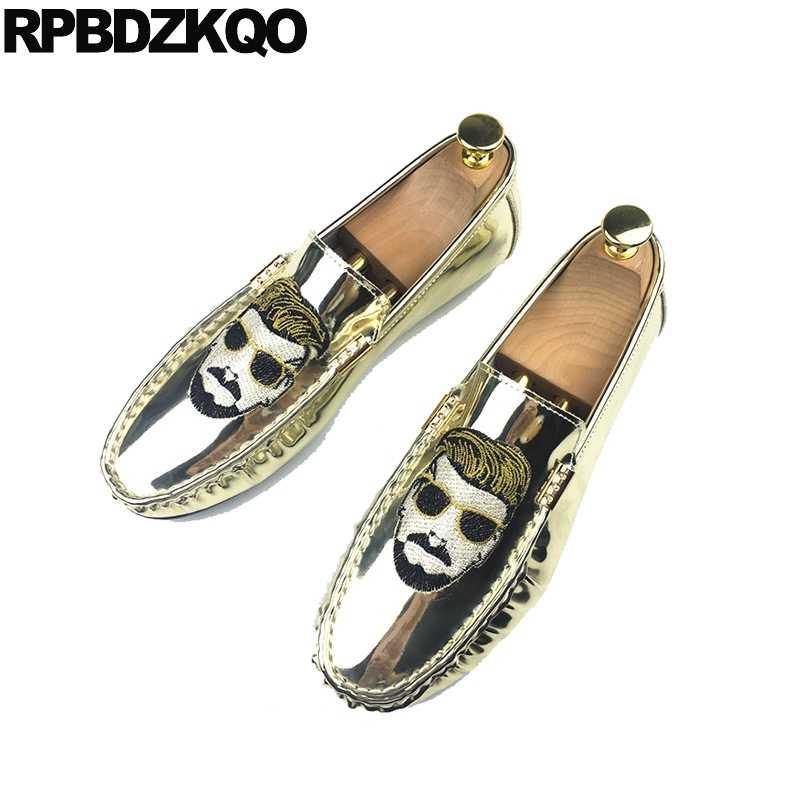 df387da8692c35 Metal Snake Skin Snakeskin Embroidery Tip Shoes Slip On Casual Alligator  Gold Loafers Men Silver New