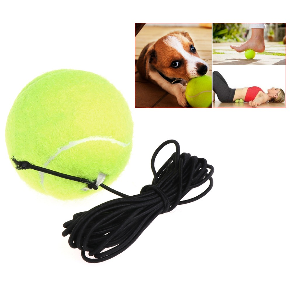 Green Resilience Tennis Balls Trainer Exercise Rubber Cord Elastic Band Rebound