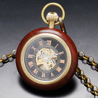 2016 New Fashion Retro Wooden Case Roman Number Dial Mechanical Pocket Watch With Chain