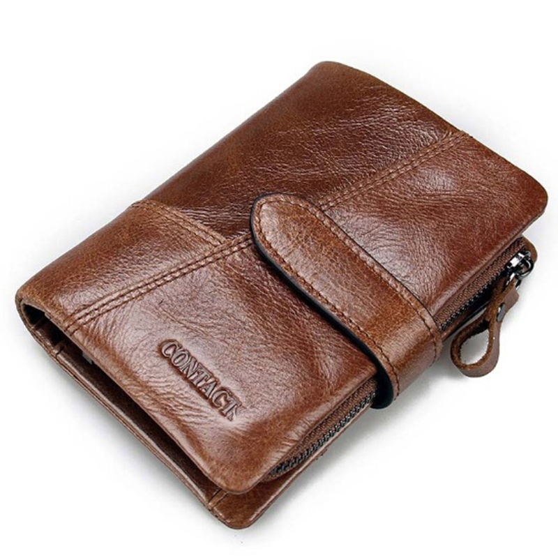 100% Genuine Leather Mens Wallet Vintage Carzy Horse Leather Wallet for Men Cclutch Bags Zipper and Hasp Wallets Coin Purses