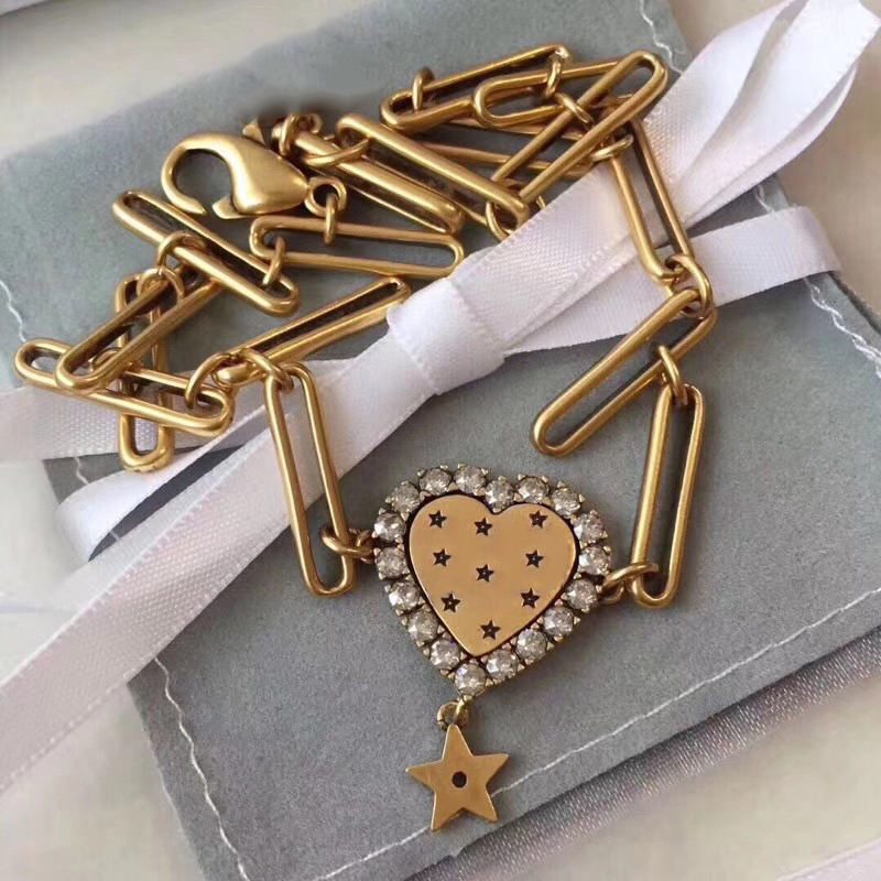 Brand Fashion Jewelry For Women Gold Color Heart Star Neckalce Gold Color Heart Necklace Cute Pendants Hot Party Necklace 38cm