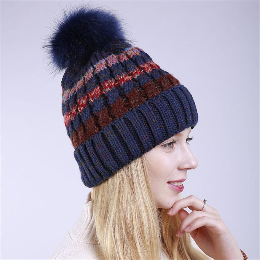 3c1267ead04 Unisex Color Block Knit Wool Beanie Cosy Winter Warm Bobble Ski Pom Pom Hat  Cap Knitting Wool about 55cm~65cm high quality.-in Skullies   Beanies from  Men s ...