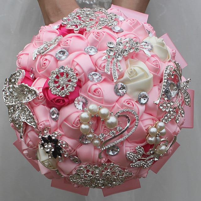 Stunning Pink Rose Flowers Wedding Bouquet Holder Crystal Diamond ...