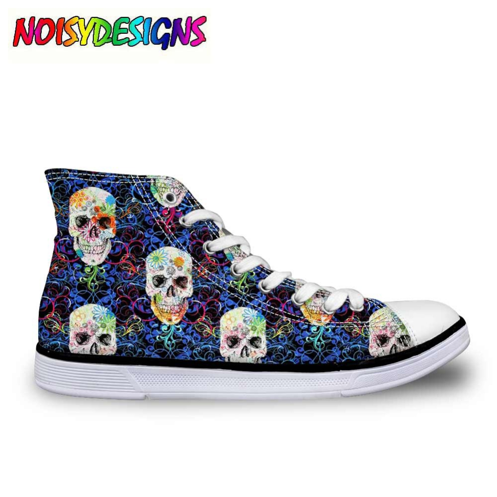 New Cool Punk Skull Printed Women's High-top Canvas Shoes Breathable Casual Lace-up Vulcanized Shoes girls High Top Sneakers