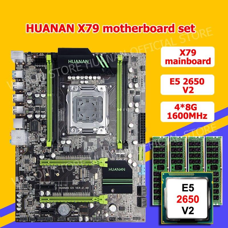 HUANAN ZHI X79 LGA2011 carte mère paquet discount X79 carte mère avec M.2 SSD slot CPU Intel Xeon E5 2650 V2 RAM 32G (4*8G)