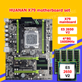 HUANAN ZHI X79 LGA2011 moederbord bundel korting X79 moederbord met M.2 SSD slot CPU Intel Xeon E5 2650 V2 RAM 32G (4*8G)