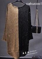 Cakucool Kadınlar Payetli Bahar Elbise Uzun Kollu Bling Altın Lurex Vestidos Sonbahar Batwing Renk Yama Gevşek Rahat Temel Elbiseler