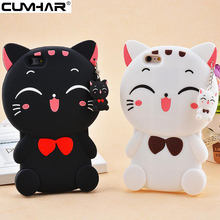 3D Cute Cat for iPhone 8 Plus Case Smile Carton Soft Silicon for iPhone 5 5S SE 6 6S 7 Plus 7Plus 8Plus iPhoneX Cover Sweet