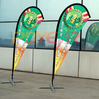 120cm*500cm Custom Double Side Printing Teardrop Banners Flags with Cross Water Bag Any Design Color Logo FREE SHIPPING
