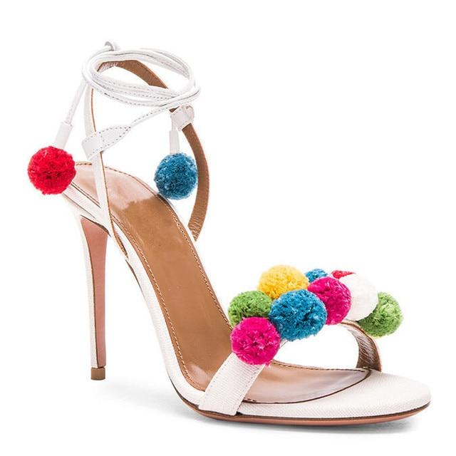 Летняя Обувь Женщины Сандалии Высокие Каблуки 10 СМ Пом Пом Сандалии женская Обувь с Открытым Носком Сандалии Женщин Сексуальная Лодыжки Ремень Sandalias B-0066