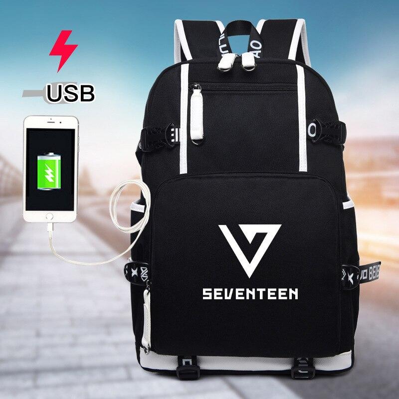 Backpacks Men's Bags Seventeen 7 Korean Star Usb Backpack Men Women Canvas School Book Bags Laptop Backpack Mochila Feminina Boy Girls