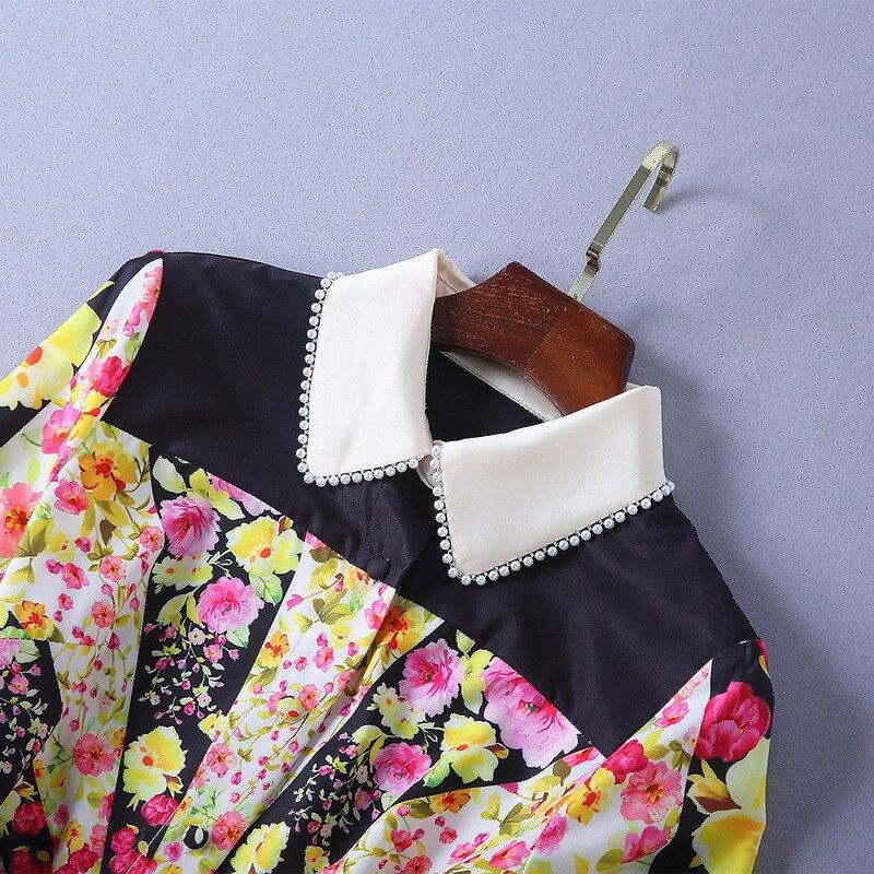 2019 Midi Manches Noir Plissée Nouvelle Mode Streetwear Qyfcioufu Qualité Haute Piste Robe De Imprimer Longues Vintage Floral Femmes ZwETqXqRx