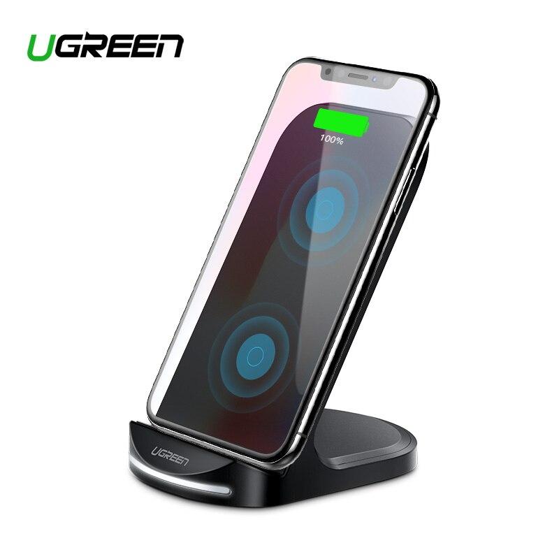 Ugreen Qi cargador inalámbrico para iPhone X XS X XR 8 Samsung S9 S8 10 W rápido inalámbrico de carga Estación de muelle de para Xiaomi cargador de teléfono