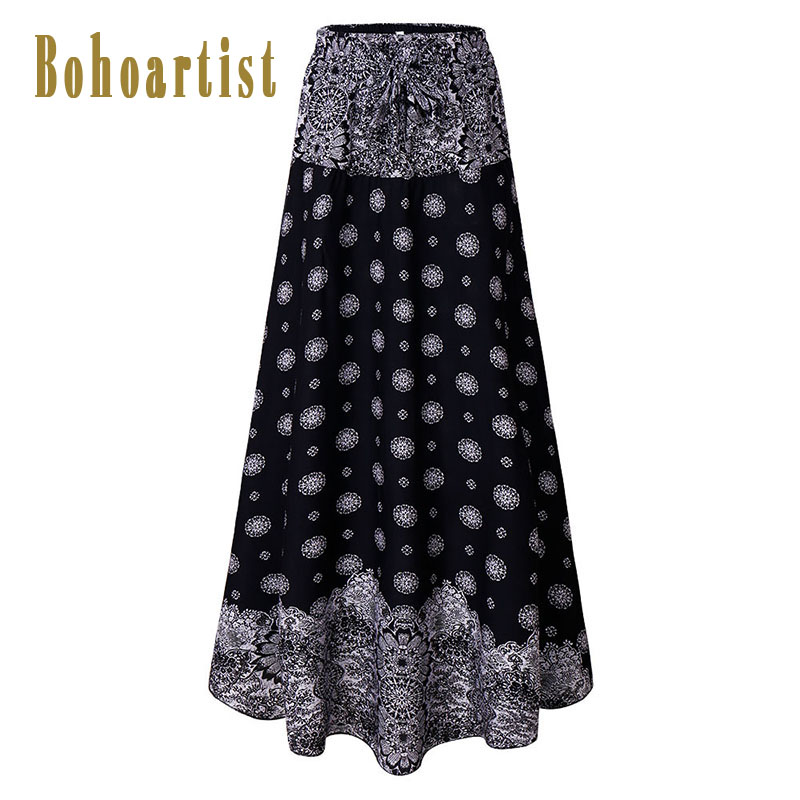 Bohoartist Women Long Skirt Floral Print A-Line Fashion Blue Mid-Waist Ankle-Length Elegant Ladies 2018 Boho Summer Cotton Skirt