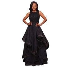 Elegant Woman Long Maxi Party Dresses Black Pink Lace Top Bohemian Style Formal Chiffon Dress Vestido Plus Size XXL SR0063