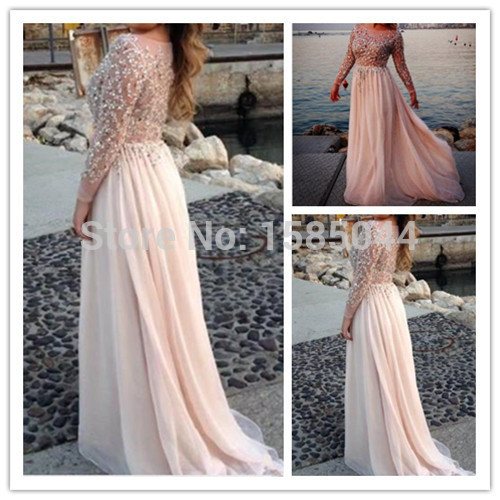 Long Evening Dress 2017 Scoop Full Sleeve Cover Back Sweep Train Chiffon Sequins A Line
