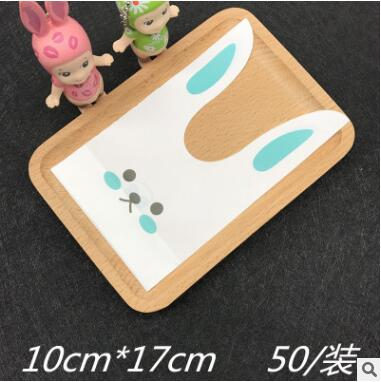 2017 New 50Pcs Long Rabbit Ear Gift Bags White Biscuit Bag Cookie Flat Bags Food Snack Candy Bags Package Bakery Gift Party Dec