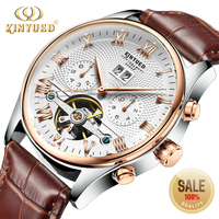 KINYUED Mechanical Tourbillon Men's Wristwatch Leather Casual Business Men Skeleton Watch Automatic erkek kol saat montre homme