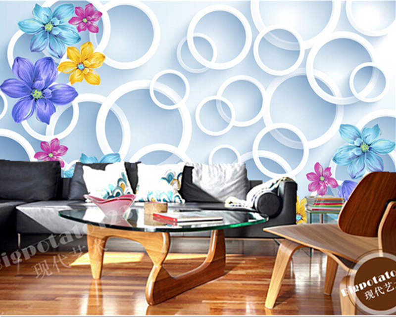 Custom romantic abstract flowers circle 3D decorative painting papel de parede, living room bedroom TV wall vinyl wallpaper custom papel de parede infantil space shuttle orbiting earth 3d cartoon mural for children room bedroom wall vinyl wallpaper